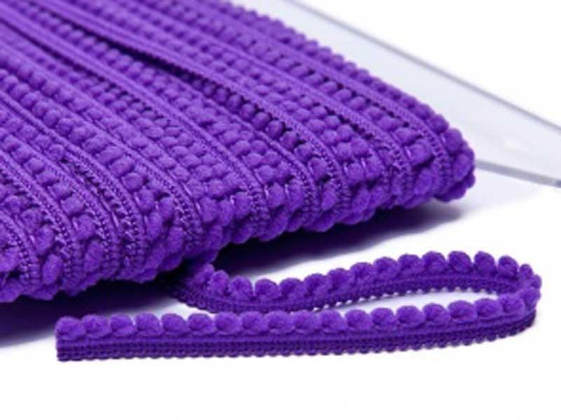 Galon petits pompons violet