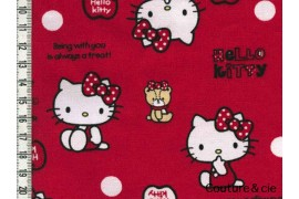 Tissu Hello Kitty bear rouge