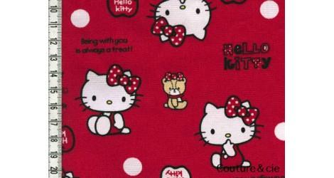 Tissu Hello Kitty bear rouge dans Kiyohara par Couture et Cie