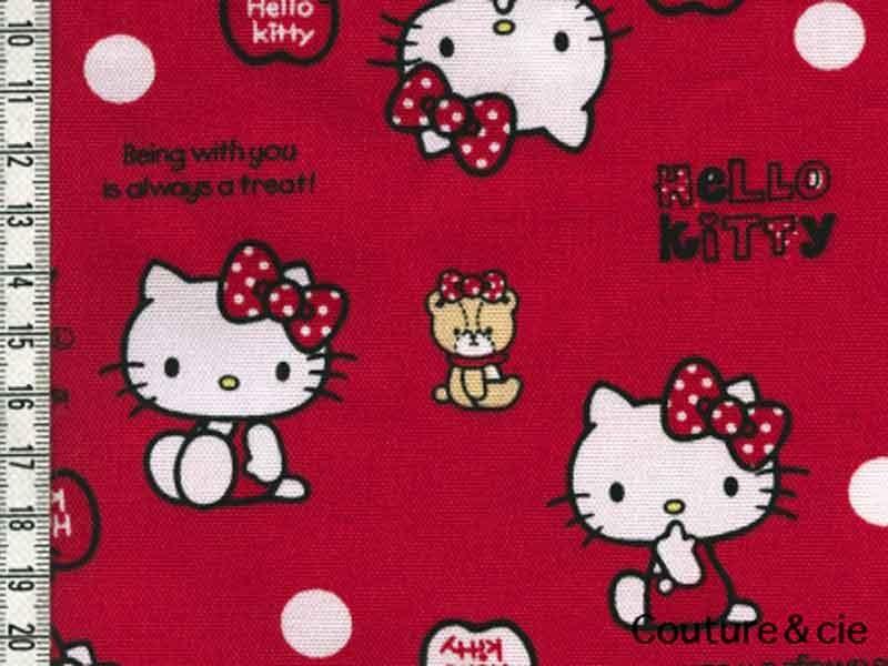 Tissu Hello Kitty bear rouge