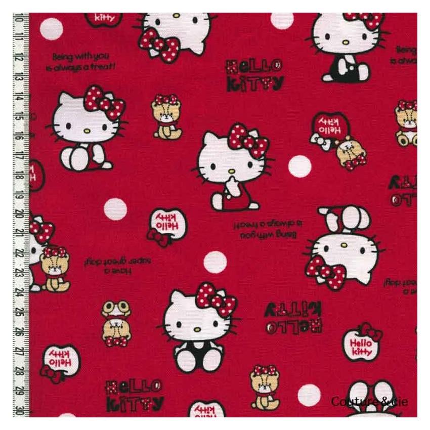 Tissu hello kitty bear rouge vente tissus au m tre tissus kiyohara - Armoire tissu hello kitty ...