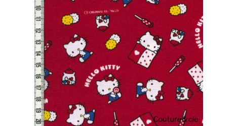 Tissu Hello Kitty okashi rouge dans Kiyohara par Couture et Cie