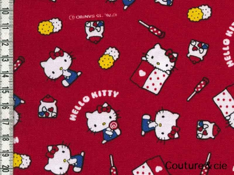 Tissu Hello Kitty rouge bonbon