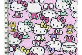 Tissu Hello Kitty rose