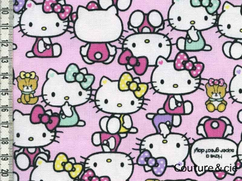 Tissu Hello Kitty rose