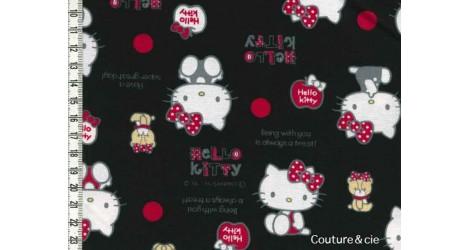 Tissu Hello Kitty bear noir dans Kiyohara par Couture et Cie