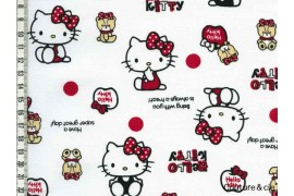 Tissu Hello Kitty bear blanc