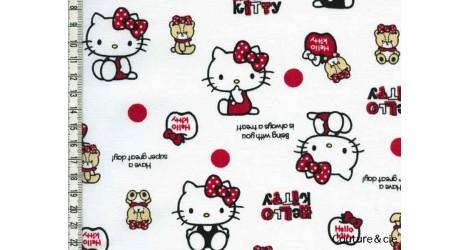 Tissu Hello Kitty bear blanc dans Kiyohara par Couture et Cie