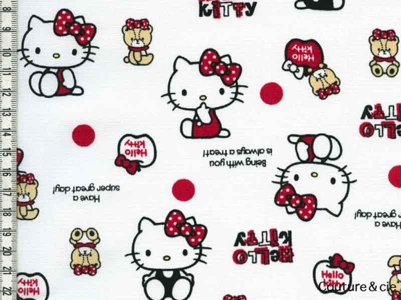 Tissu Hello Kitty bear blanc