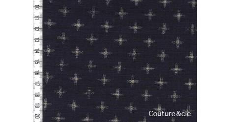 Tissu bleu indigo Juujimonyou, coupon 85x110cm dans Motifs traditionnels par Couture et Cie