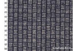 Tissu bleu indigo Traits et lignes