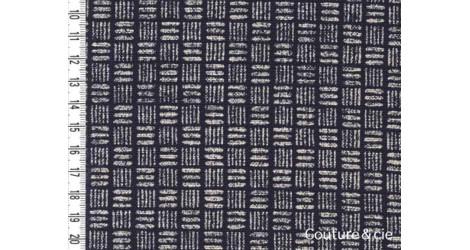 Tissu bleu indigo Traits et lignes dans Motifs traditionnels par Couture et Cie