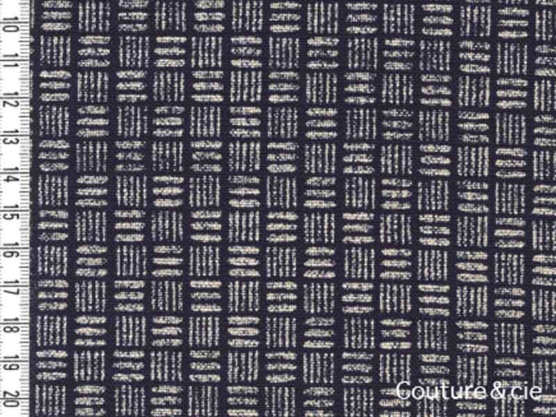 Tissu bleu indigo motif carré