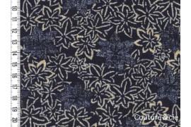 Tissu feuilles d'érable bleu indigo