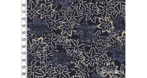 Tissu feuilles d'érable bleu indigo dans Motifs traditionnels par Couture et Cie