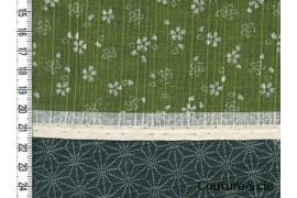 Tissu double face Sakura/Asanoha vert
