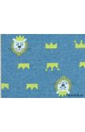 Tissu sweat motif lion bleu