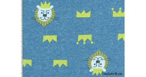 Tissu sweat motif lion bleu dans Tissus Animaux par Couture et Cie