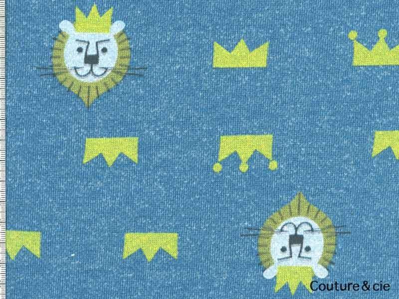 Tissu Sweat Kiyohara motif lion bleu