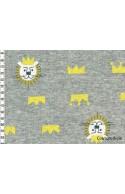 Tissu sweat motif lion gris