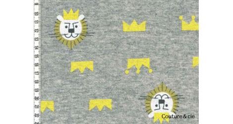Tissu sweat motif lion gris dans Sweat par Couture et Cie
