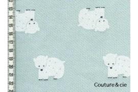 Tissu sweat ours bleu