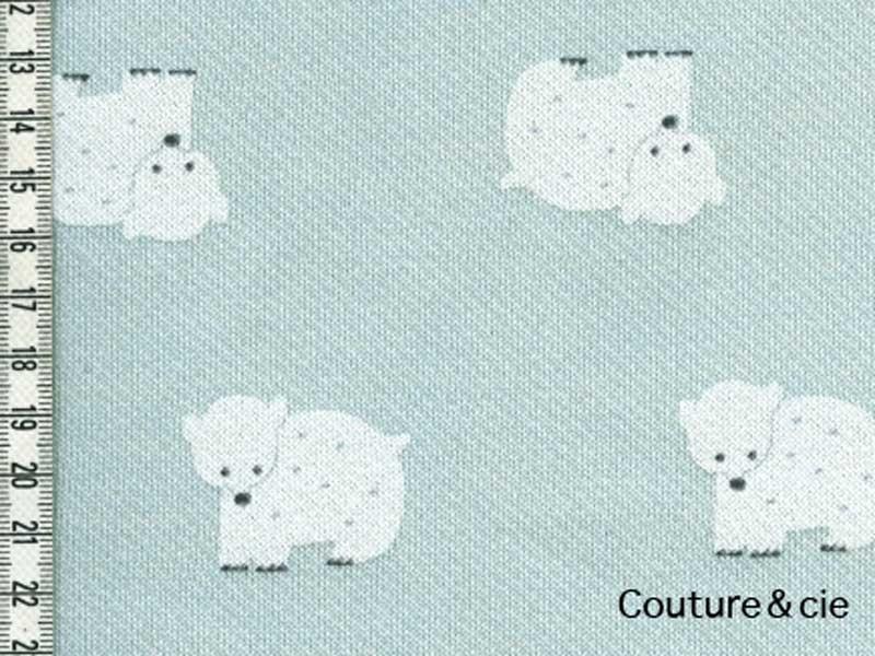 Tissu Sweat Kiyohara motif ours bleu