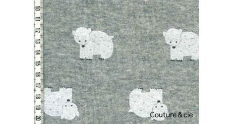 Tissu sweat ours gris, coupon 76*83cm dans Sweat par Couture et Cie