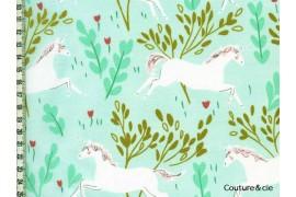 Tissu Unicorn Forest vert menthe
