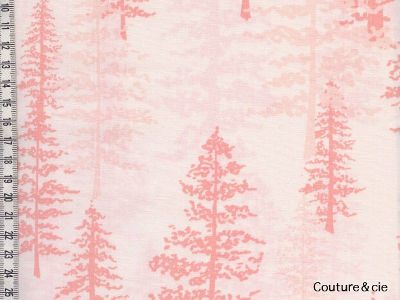 Tissu Art Gallery Fabrics sapins corail