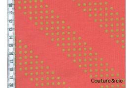 Tissu Dottie corail et or