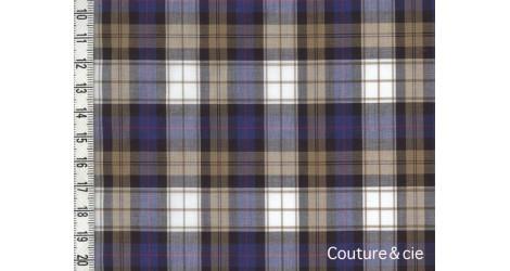 Coton peigné à carreaux sable et bleu dans Tissus Carreaux par Couture et Cie
