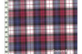 Tissu Coton peigné à carreaux rouge et bleu