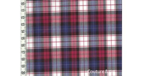 Tissu Coton peigné à carreaux rouge et bleu dans Tissus Carreaux par Couture et Cie