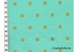 Tissu Xoxo vert effet doré
