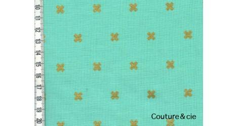 Tissu Xoxo vert effet doré dans COTTON + STEEL par Couture et Cie