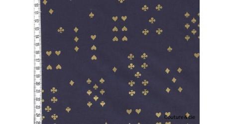 Tissu Rifle Paper Wonderland, Follow Suit Navy metalllic, x10cm dans COTTON + STEEL par Couture et Cie
