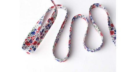 Biais phoebe bleu et rouge dans Biais Liberty par Couture et Cie