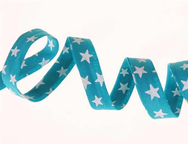 Biais bleu paon étoiles nacrées
