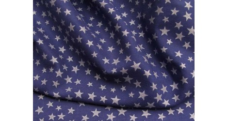 Batiste bleu étoiles nacrées dans Tissus Etoiles par Couture et Cie