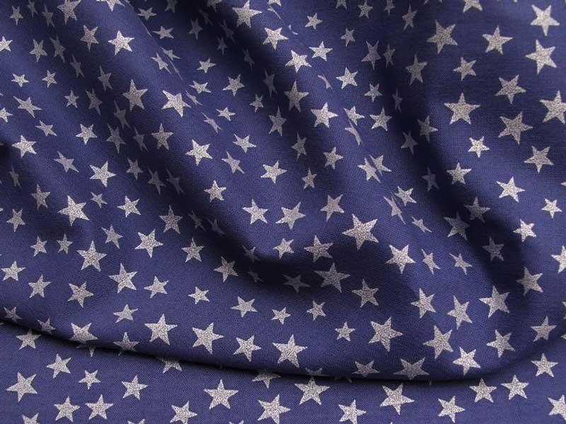 Batiste de coton bleu étoiles nacrées