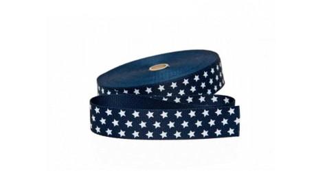 Sangle bleu marine avec étoiles 30mm dans SANGLES par Couture et Cie