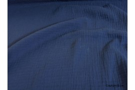 Double gaze gaufrée bleu indigo, x10cm