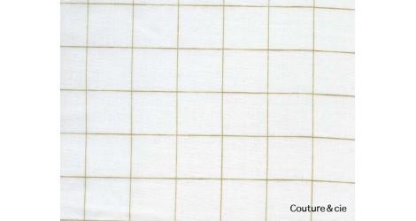 Double gaze FDS blanche carreaux or dans Double gaze FDS par Couture et Cie