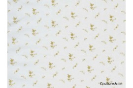 Double gaze FDS blanche fleurs or