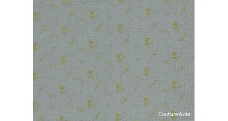 Double gaze France Duval Stalla vert de gris fleurs or dans Double gaze FDS par Couture et Cie