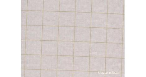Double gaze FDS rose nude carreaux or, coupon 30*145cm dans Double gaze FDS par Couture et Cie