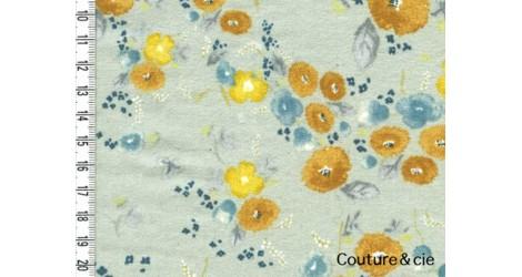 Flanelle de coton bleu-gris Little letter dans TISSUS JAPONAIS par Couture et Cie