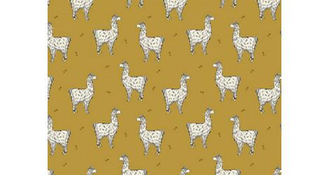 Jersey Bio Bloome Lama moutarde dans TISSUS BIOLOGIQUES par Couture et Cie