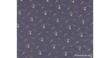 Double gaze FDS bleu marine fleurs dorées dans FRANCE DUVAL STALLA par Couture et Cie